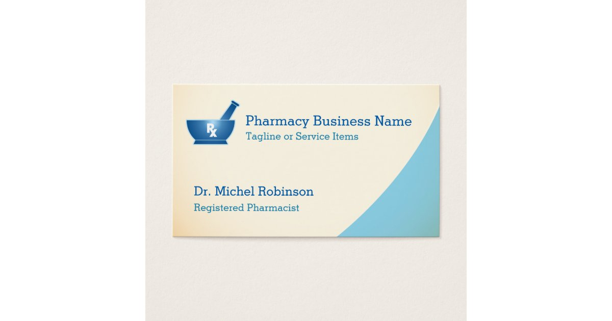 Pharmacy Mortar Pestle Logo Chemist - Cream Blue Business Card ...
