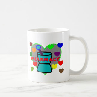 """PHARMACY""  Multi Color Hearts Coffee Mug"