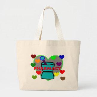 """PHARMACY""  Multi Color Hearts Jumbo Tote Bag"