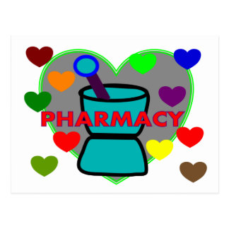 """PHARMACY""  Multi Color Hearts Postcard"