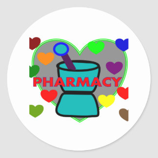"""""""PHARMACY""""  Multi Color Hearts Round Sticker"""