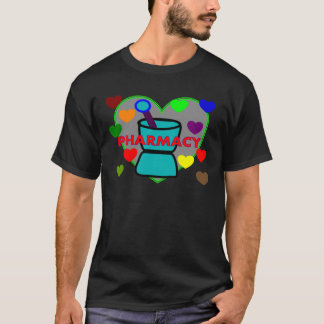 """PHARMACY""  Multi Color Hearts T-Shirt"