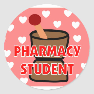 """""""PHARMACY STUDENT"""" Gifts Round Stickers"""