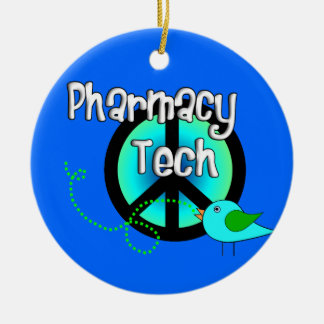 Pharmacy Tech Christmas Ornament Peace Sign