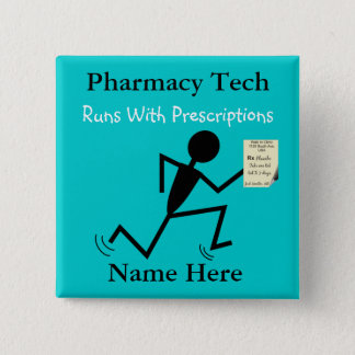 Pharmacy Tech Name Pins Badge Blue