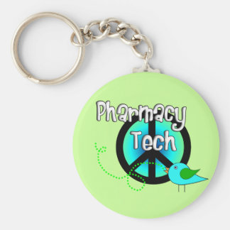 Pharmacy Tech Peace Sign Design Gifts Keychain