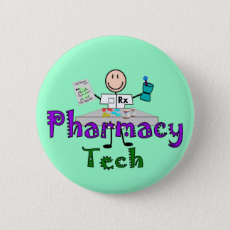 Pharmacy Tech Stick People Design Gifts 2 Inch Round Button