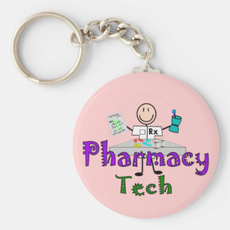 Pharmacy Tech Stick People Design Gifts Basic Round Button Keychain