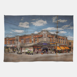 Pharmacy - The corner drugstore 1910 Kitchen Towel