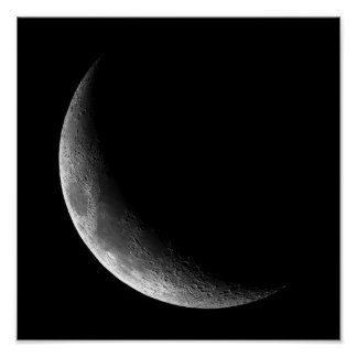 PHASES OF THE MOON, CRESCENT MOON. PHOTO 5 OF 5. POSTER