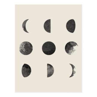 Phases of the Moon Lunar Watercolor Postcard