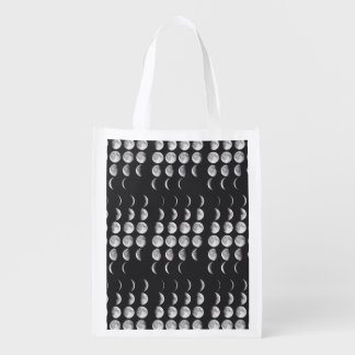 Phases of the moon reusable grocery bag