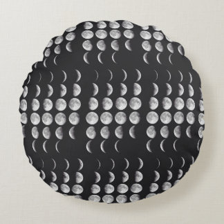 Phases of the moon round pillow
