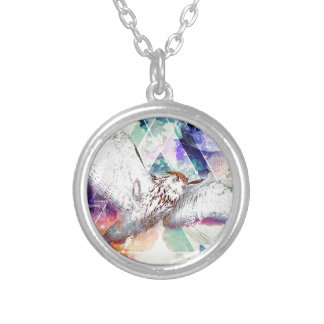 Phate-Vu Verian-The Great White Owl-Print Silver Plated Necklace
