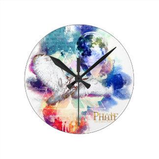 Phate-Vu Verian-The Great White Owl Round Clock