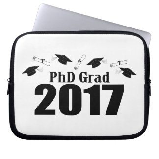 PhD Grad 2017 Caps And Diplomas (Black) Laptop Sleeve