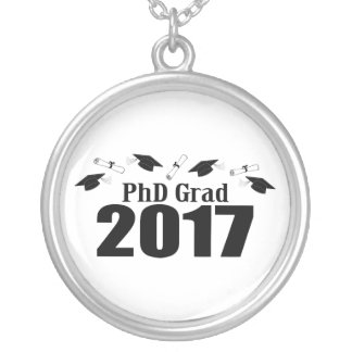 PhD Grad 2017 Caps And Diplomas (Black) Silver Plated Necklace
