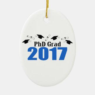 PhD Grad 2017 Caps And Diplomas (Blue) Ceramic Ornament
