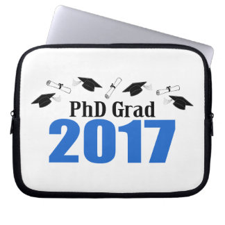 PhD Grad 2017 Caps And Diplomas (Blue) Laptop Sleeve