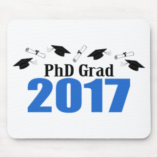 PhD Grad 2017 Caps And Diplomas (Blue) Mouse Pad