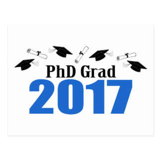 PhD Grad 2017 Caps And Diplomas (Blue) Postcard