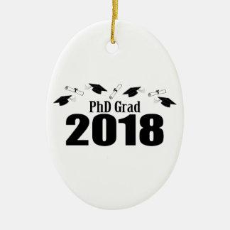 PhD Grad 2018 Caps And Diplomas (Black) Ceramic Ornament