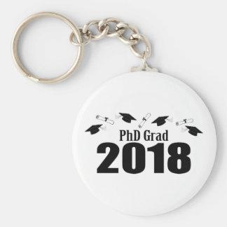 PhD Grad 2018 Caps And Diplomas (Black) Keychain
