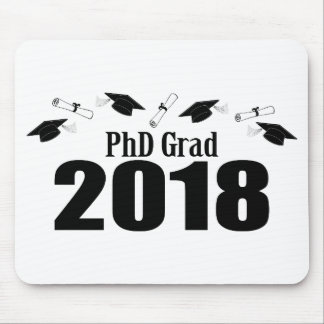PhD Grad 2018 Caps And Diplomas (Black) Mouse Pad