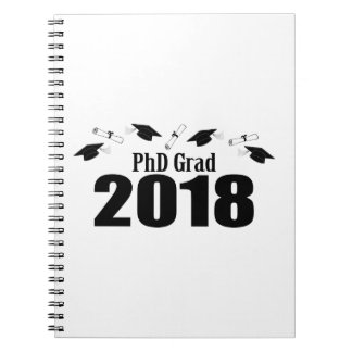 PhD Grad 2018 Caps And Diplomas (Black) Notebook