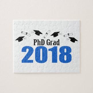 PhD Grad 2018 Caps And Diplomas (Blue) Jigsaw Puzzle