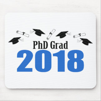 PhD Grad 2018 Caps And Diplomas (Blue) Mouse Pad