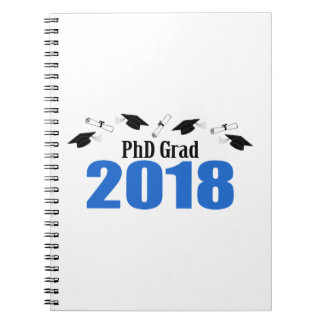 PhD Grad 2018 Caps And Diplomas (Blue) Notebook