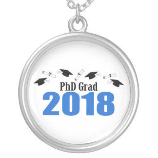 PhD Grad 2018 Caps And Diplomas (Blue) Silver Plated Necklace