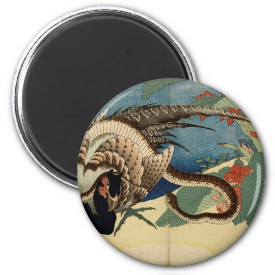 Pheasant and the Snake 2 Inch Round Magnet