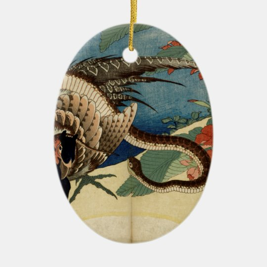 Pheasant and the Snake Ceramic Oval Ornament
