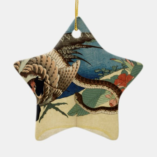 Pheasant and the Snake Ceramic Star Ornament