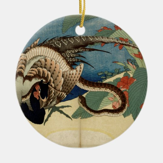 Pheasant and the Snake Round Ceramic Ornament