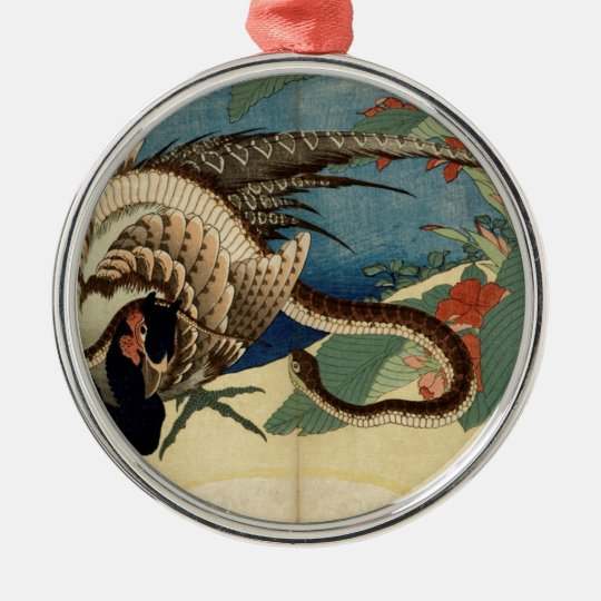 Pheasant and the Snake Silver-Colored Round Ornament