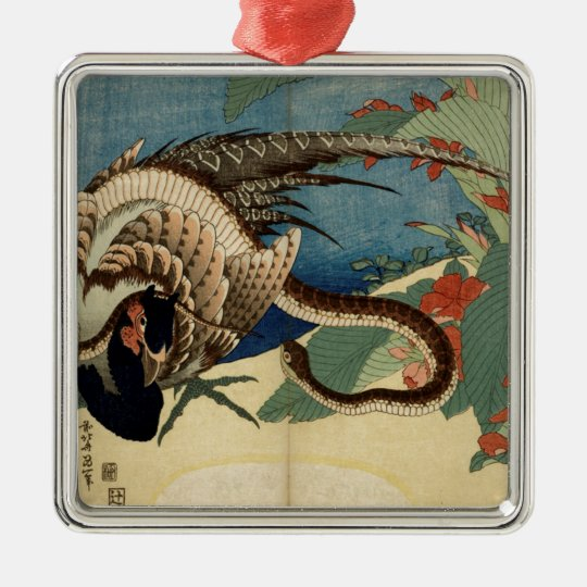 Pheasant and the Snake Silver-Colored Square Ornament