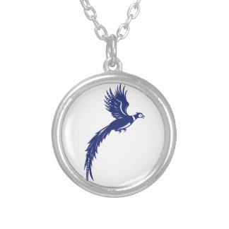 Pheasant Bird Fowl Flying Side Retro Silver Plated Necklace