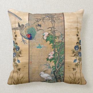 Pheasant Birds Morning Glory Flowers Throw Pillow