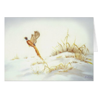 Pheasant in Snowy Landscape Oil Painting Card