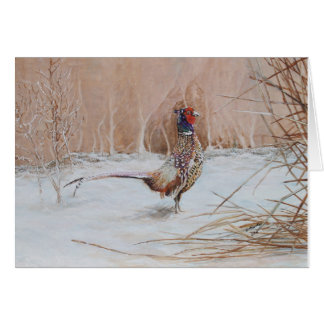 Pheasant in the snow card