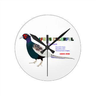 Pheasant Round Clock