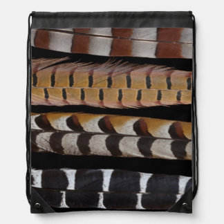 Pheasant tail feathers drawstring bag