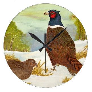 Pheasants in Snow Painting Clock