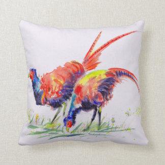Pheasants Watercolour Throw Pillow