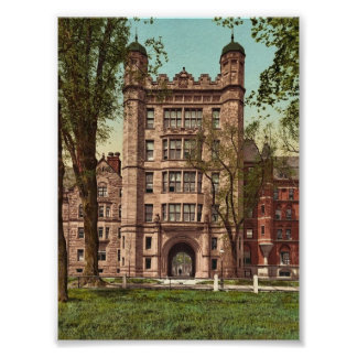 Phelps Hall and gateway, Yale College rare Photoch Poster
