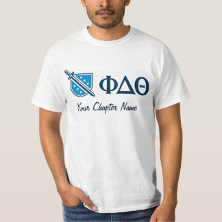 Phi Delta Theta - Blue Greek Lettters and Logo T-Shirt