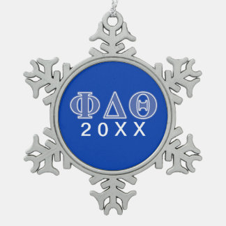 Phi Delta Theta Royal Blue Letters Snowflake Pewter Christmas Ornament